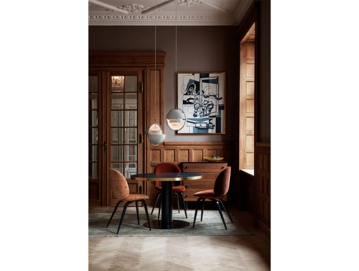 sophisticated dining room in earthy tones