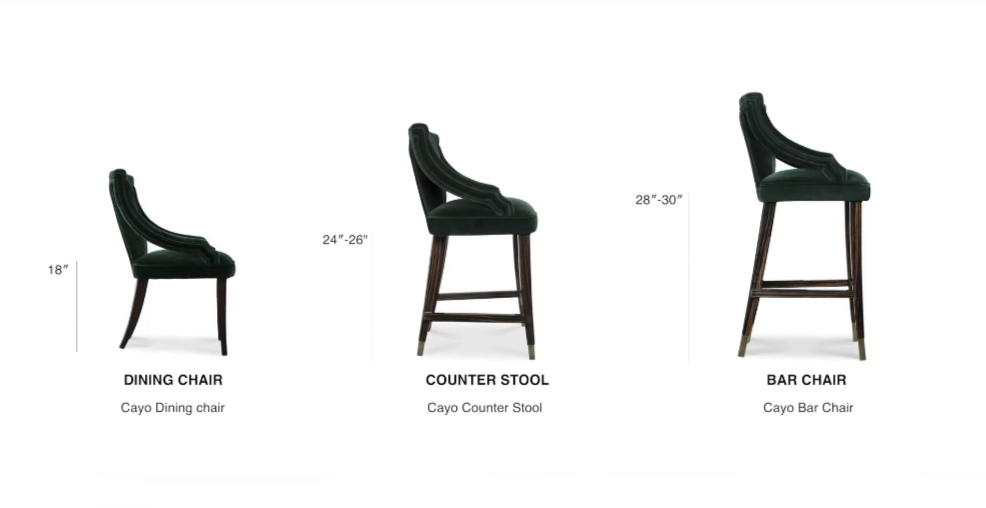 Differences between a dining chair, counter or bar stool