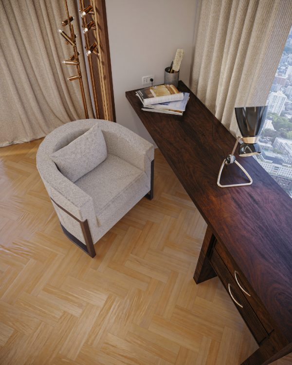 midcentury decor with wood and neutral tones